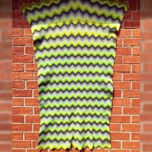 Vintage Wool Knit Green Zig Zag Blanket 55x30